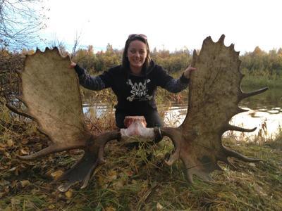 Oklahoma Girl and Her Moose
