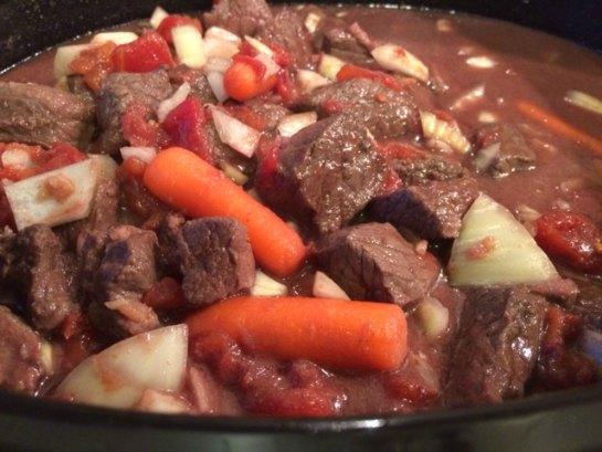 Moose Swiss Steak in slow cooker