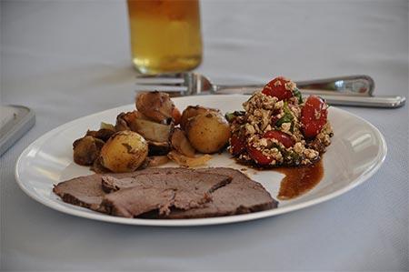 Barbequed Moose Roast Serving Suggestion