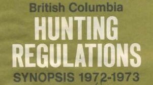 1972 BC Hunting Regulations