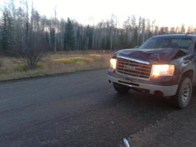 Another view of my truck after I hit the moose