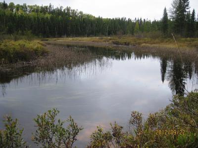 Lake with moderate hills surrounding it.