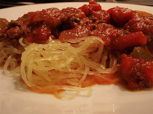 Moose Spaghetti Sauce with Spaghetti Squash