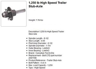 1250 Pound High Speed Axles - This is an old screen shot that I had saved.